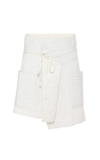 Medium isabel marant white summer quilt bird skirt in ecru