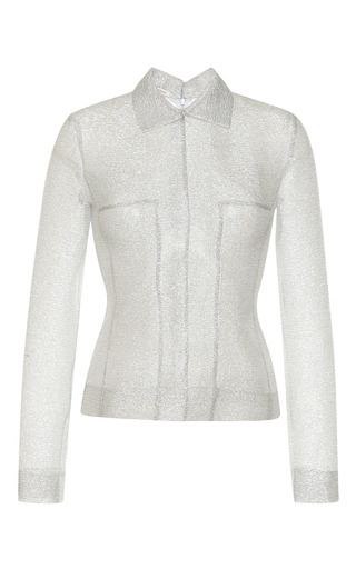 Medium emilia wickstead silver silver sparkles long sleeve tallulah top with collar