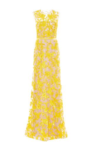 Medium naeem khan yellow floral beaded gown
