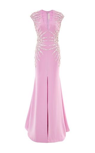 Medium naeem khan purple strabust beaded gown