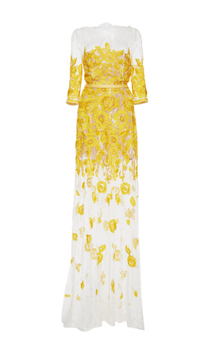 Medium naeem khan yellow floral lace gown