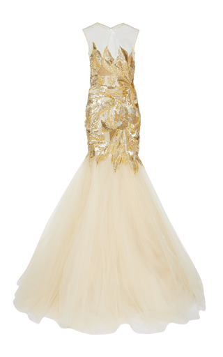 Medium naeem khan gold sequin mermaid gown