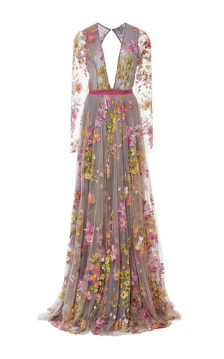 Medium naeem khan multi floral embroidered long sleeve gown