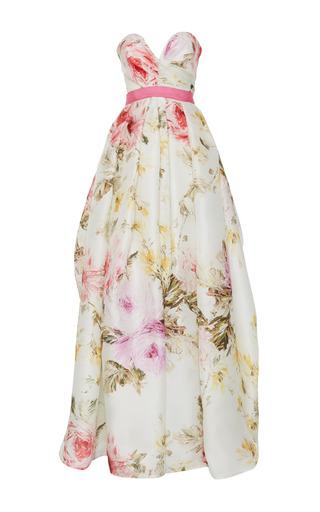 Medium naeem khan multi rose print strapless gown