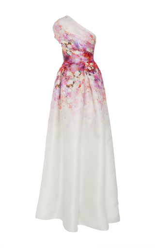 Medium naeem khan multi floral one shoulder gown