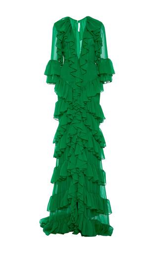 Medium naeem khan green chiffon ruffle gown