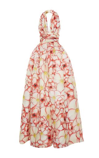 Medium naeem khan multi pansy print halter gown