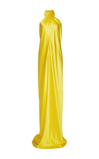 Medium naeem khan yellow silk satin wrap gown