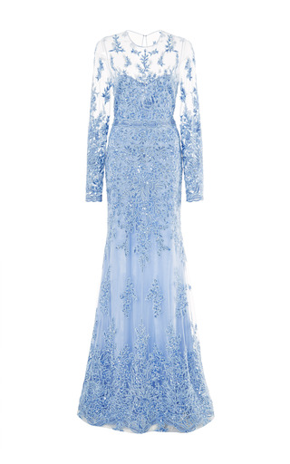Medium naeem khan blue lace embroidered gown