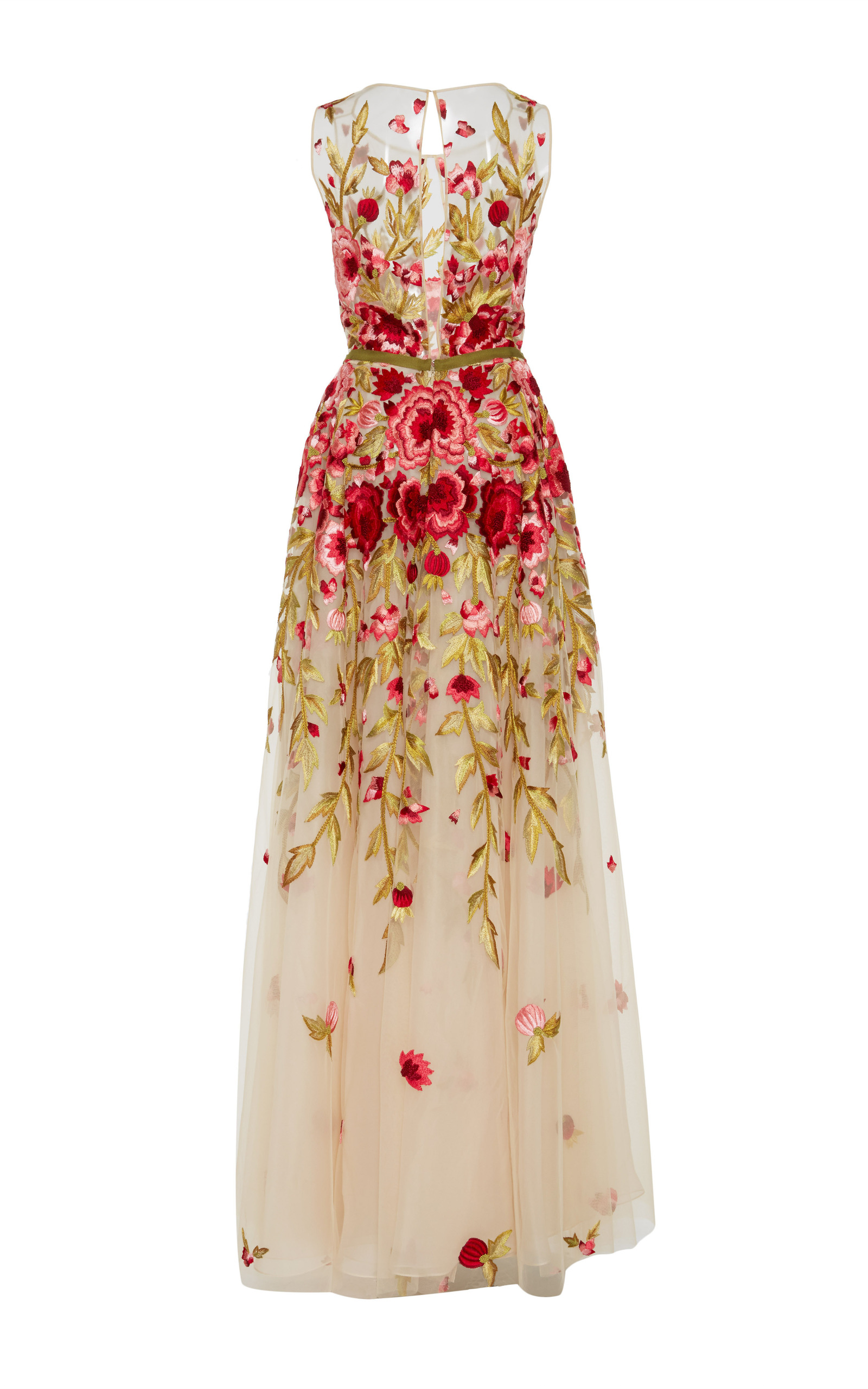 760c3665e6c6ab Floral Embroidered Sleeveless Gown by Naeem Khan