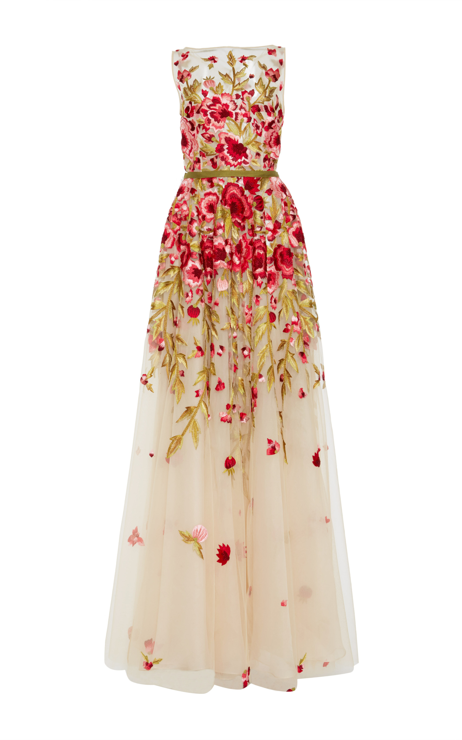 Floral embroidered sleeveless gown by naeem khan moda