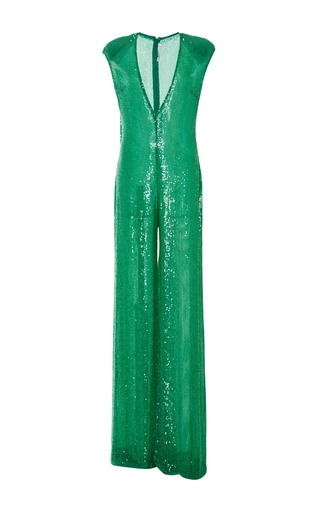 Medium naeem khan green sequin jumpsuit