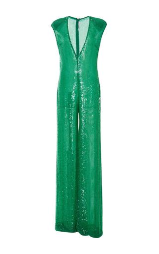 Medium naeem khan green sequin jumpsuit