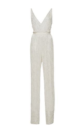 Medium naeem khan white white linear beaded jumpsuit