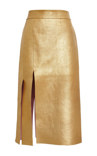 Medium nina ricci gold gold bonded gold leather skirt