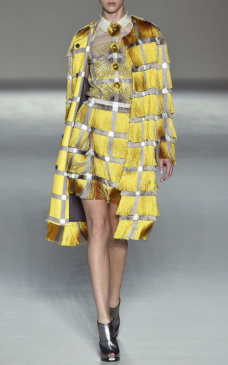 Marco De Vincenzo Silk And Fringe Cady Dress In Yellow