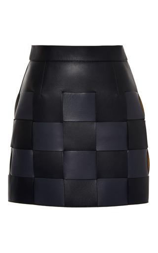 Medium marco de vincenzo black interwoven nappa mini skirt in black and blue
