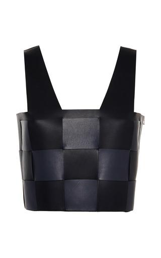 Medium marco de vincenzo black interwoven nappa top in black and blue