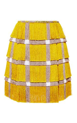 Medium marco de vincenzo yellow fringe cady mini skirt in yellow