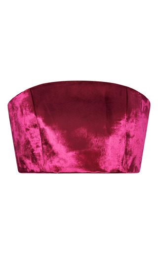 Medium katie ermilio pink panne velvet bandeau top