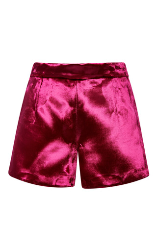 Medium katie ermilio pink panne velvet mini short
