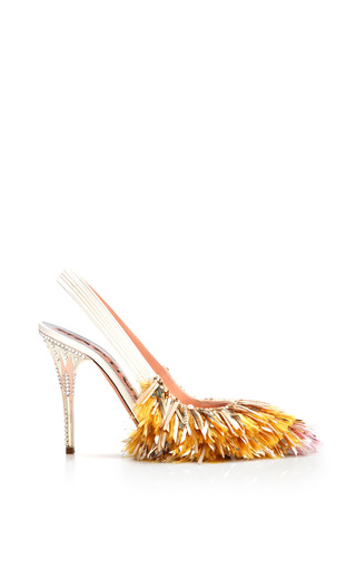 Medium rochas metallic pink tip tinsel fringe slingback pump