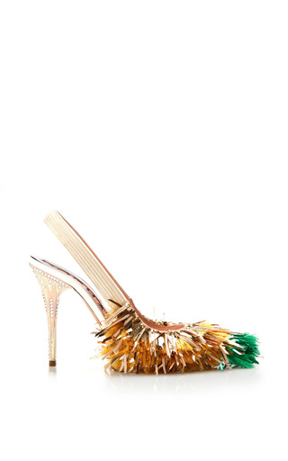 Medium rochas metallic green tip tinsel fringe slingback pump