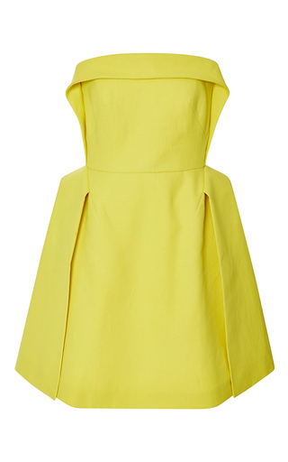 Medium delpozo yellow double paper twill short dress 5