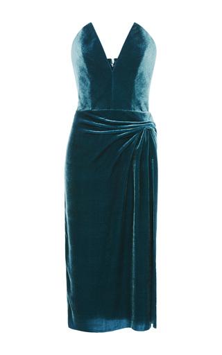 Medium cushnie et ochs blue strapless velvet dress 2