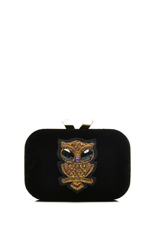 Medium kotur black margo velvet with owl embellishment clutch 2