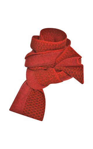 Medium prabal gurung red red jacquard intarsia scarf 2