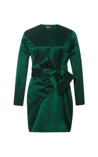 Medium katie ermilio green bow wrap long sleeve mini dress 2