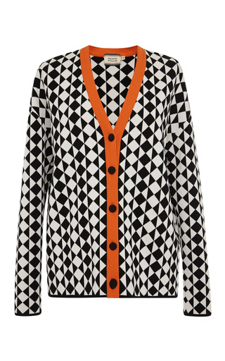 Medium fausto puglisi multi black and white geometric cardigan