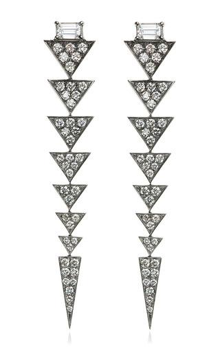 Medium nikos koulis silver 18k black rhodium and white diamond v collection drop earrings
