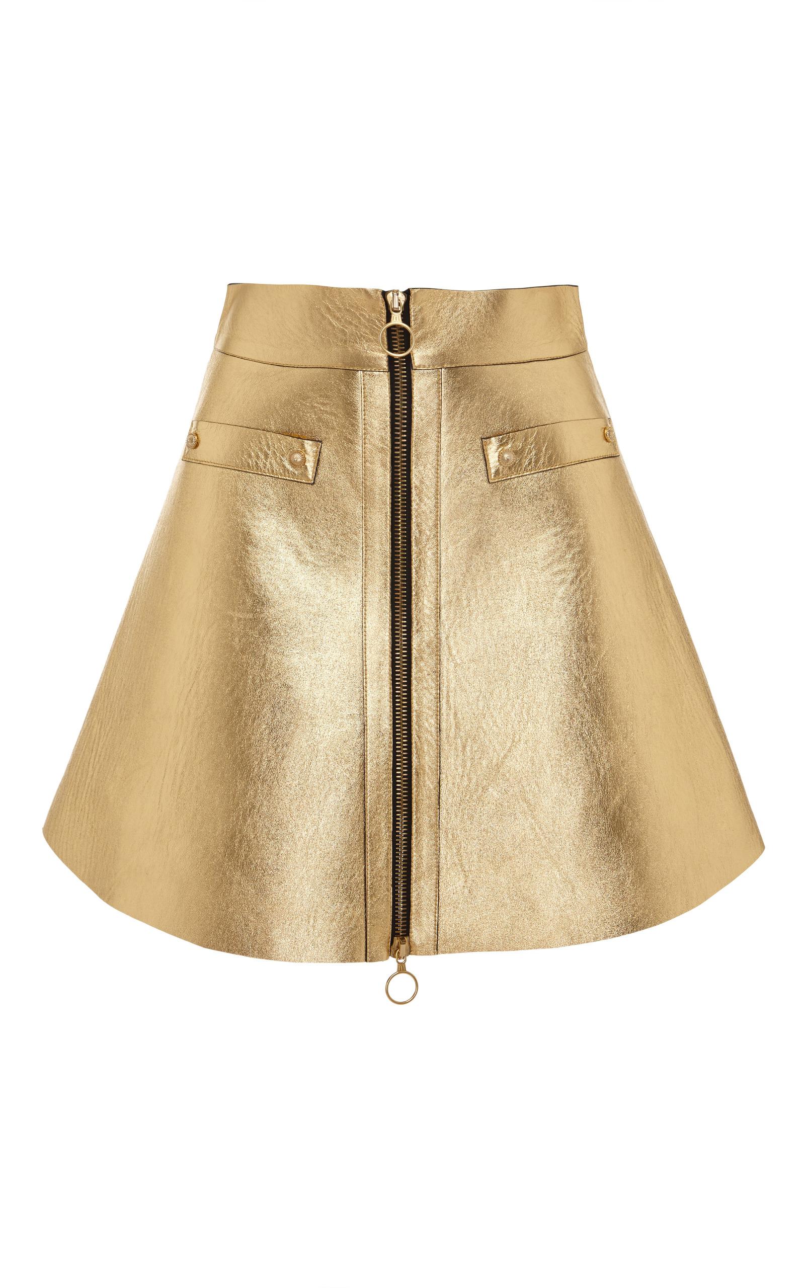 gold leather skirt by fausto puglisi moda operandi