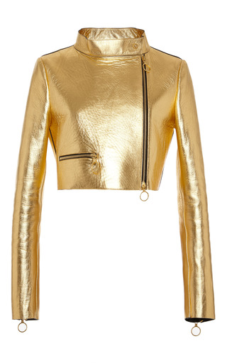 Medium fausto puglisi gold gold cropped leather jacket