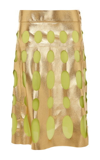 Medium fausto puglisi multi lime green and gold leather cutout skirt