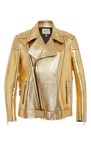 Medium fausto puglisi gold gold leather moto jacket