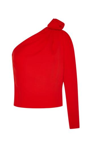 Medium vika gazinskaya red asymmetric top with shoulder knot in coral red