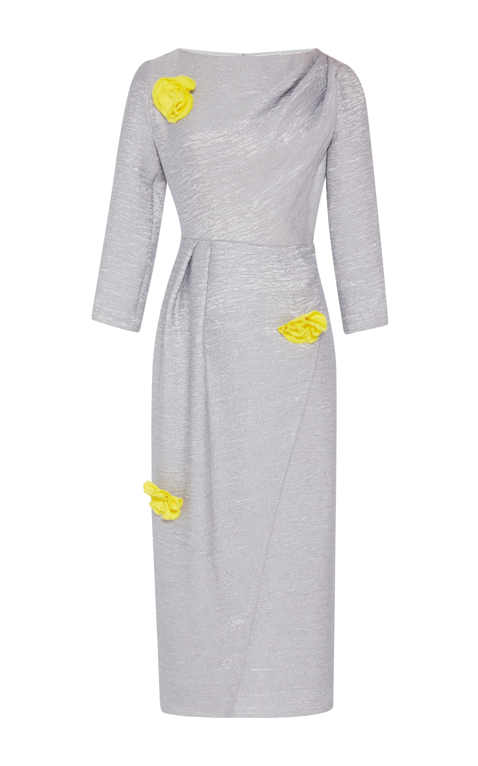 Fitted Wrap Dress With Yellow Brooch Flowers By Vika Gazinskaya