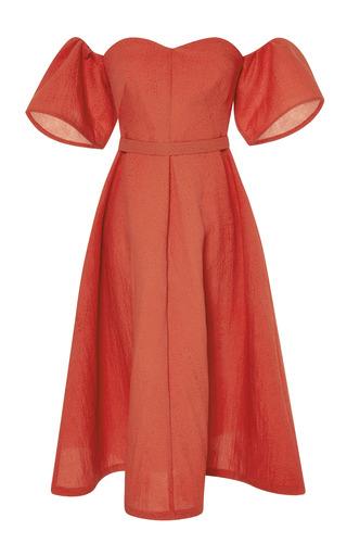 Medium vika gazinskaya red cut away shoulder flouncy dress