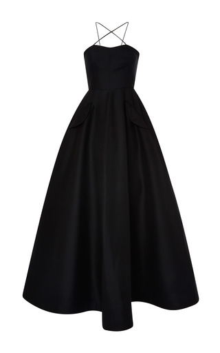 Medium vika gazinskaya black decolette evening gown with underskirt