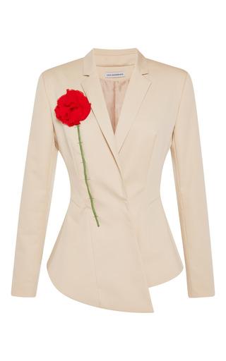 Medium vika gazinskaya brown asymmetric jacket with red flower applique