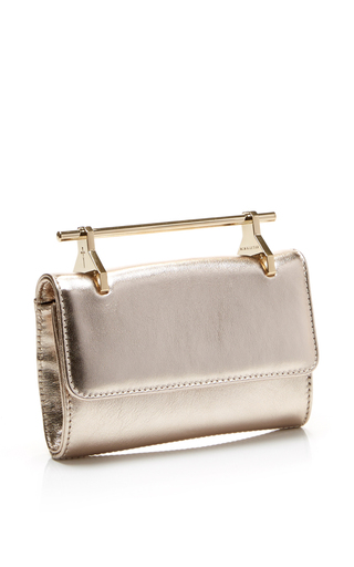 Mini Fabricca Leather Bag In Gold by M2MALLETIER Now Available on Moda Operandi