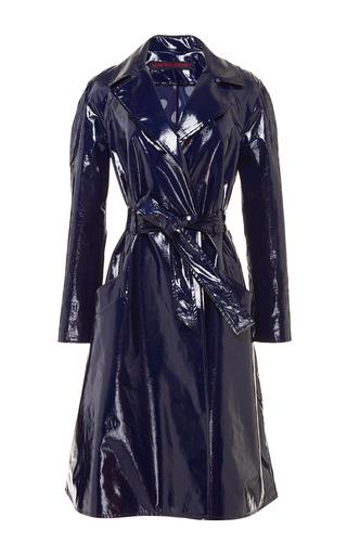 Medium martin grant blue patent trench coat