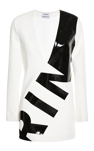 Medium anthony vaccarello white black print long sleeve dress