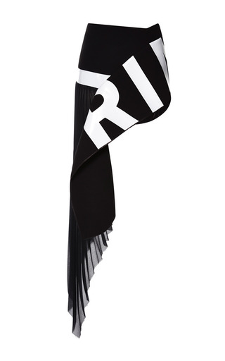 Medium anthony vaccarello black pleated mousseline skirt