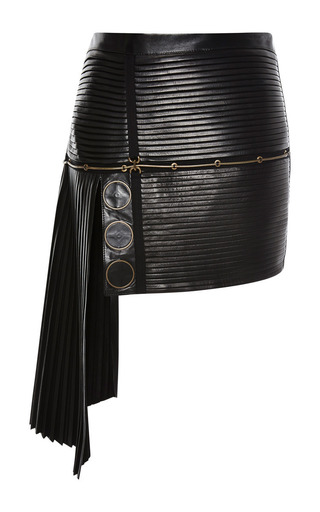 Medium anthony vaccarello black leather all over pleated skirt