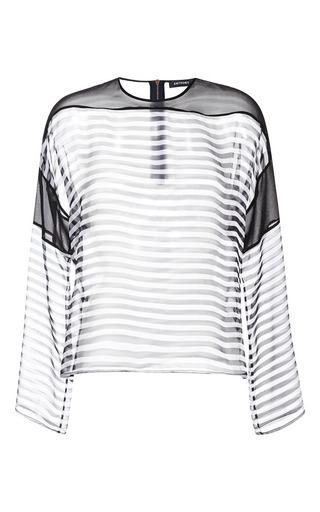 Medium anthony vaccarello multi black stripe mousseline marinere top