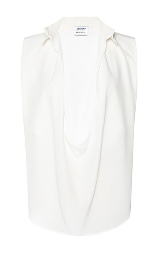 Medium anthony vaccarello white crepe de chine decolete sleeveless white shirt
